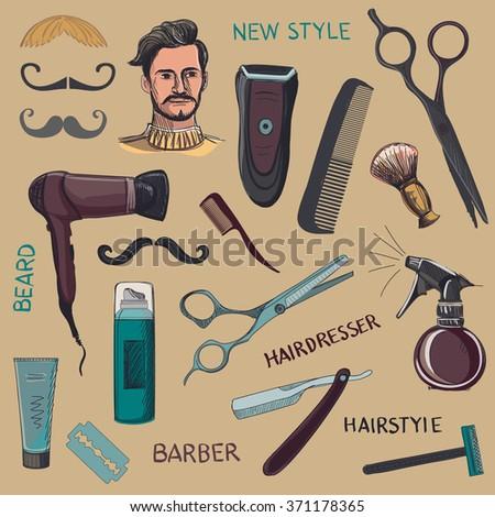 Set of vintage barber shop elements. Scissors, razor, shaving brush, barber pole, shaving mirror, mustache, comp. Blue background - stock photo