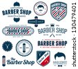 Set of vintage barber shop graphics and icons - stock vector
