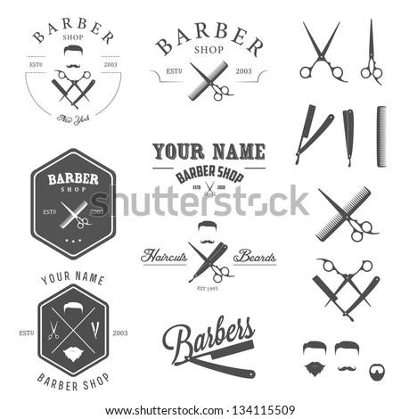 Set of vintage barber shop logo, labels, badges and design element - stock photo