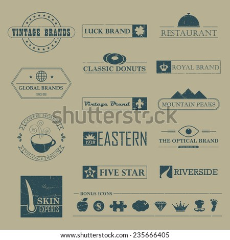Set of Vintage brands and logo design elements - stock photo