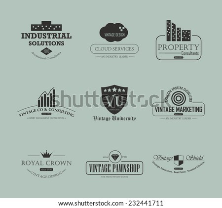 Set of vintage business and industry logo design element - stock photo