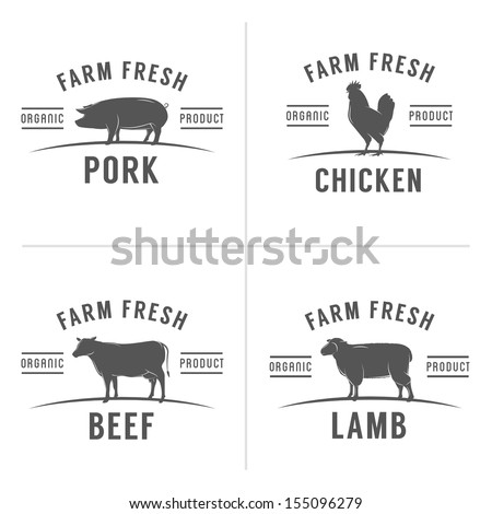 Set of vintage butchery meat stamps and labels - stock photo