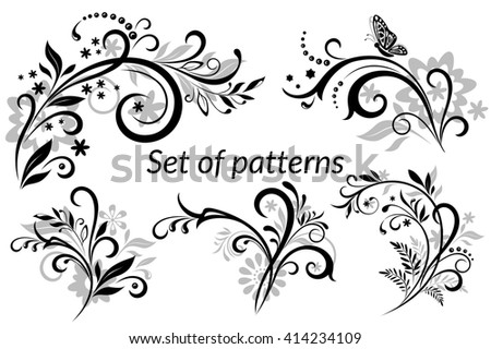 Set of Vintage Calligraphic Elements, Floral Patterns and Butterfly, Black and Grey Silhouettes Isolated on White Background.