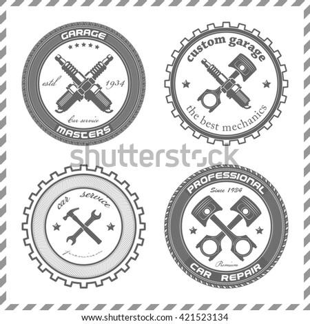 Set Vintage Car Symbols Car Service Stock Illustration 421523134