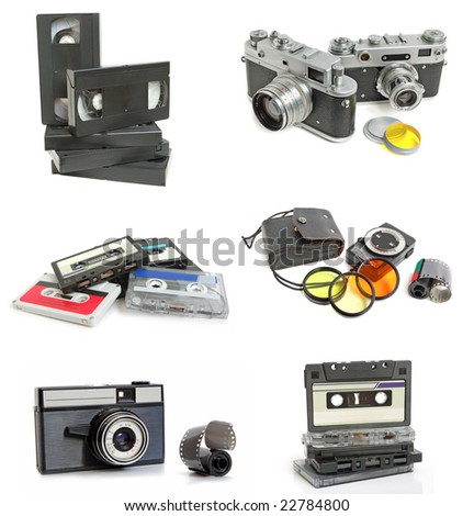 Set of vintage cassette and photo cameras on white background - stock photo