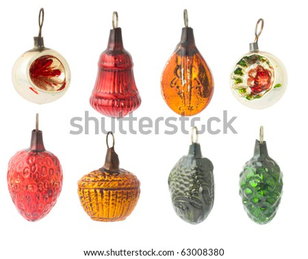 set of vintage Christmas decorations - stock photo