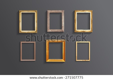 Set of vintage classic picture wood frame - stock photo