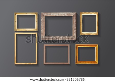 Set of vintage classic picture wood frame. - stock photo
