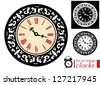 Set of vintage clocks. Raster version - stock vector