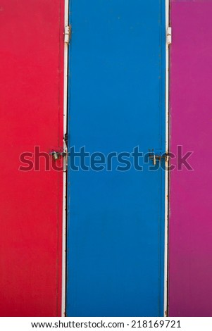 Set of vintage colorful lockers found at the surf school of Essaouira, Morocco - stock photo