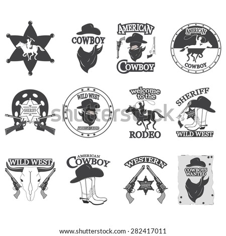 Set of vintage cowboy emblems, labels, badges, logos and designed elements. Wild West theme - stock photo