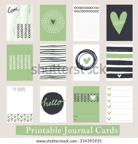 Set of Vintage Creative Cards with Hand Drawn Textures. Templates for Placards, Posters, Flyers and Banner Designs, Printable Journals Card - stock photo