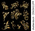 Set of vintage decorative elements for design, print, embroidery. Raster version. - stock