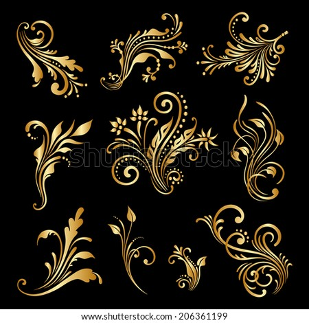 Set of vintage decorative elements for design, print, embroidery. Raster version. - stock photo