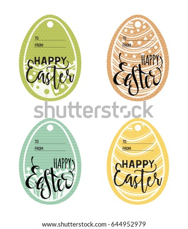 Set vintage easter gift tags happy stock vector 619649099 set of vintage easter gift tags happy easter lettering caption zentangle holiday design for negle Images