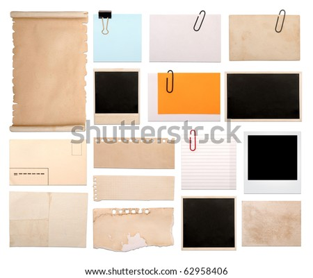 set of vintage empty notes isolated on white