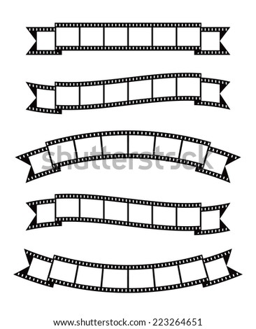 Set of vintage film strips ribbon seal decorative design element - stock photo