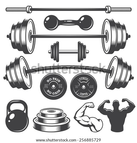 Set of vintage fitness designed elements. Monochrome style - stock photo