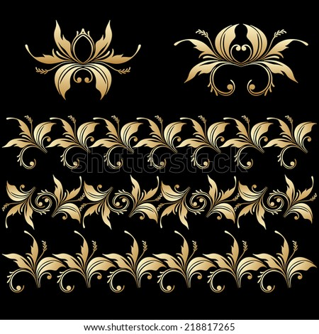 Set of vintage floral decorative elements for design, print, embroidery. Raster version. - stock photo