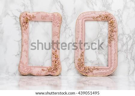 Set of vintage frame on white marble background - stock photo