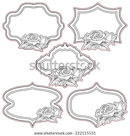 Set of vintage frames with roses, isolated on white. - stock photo