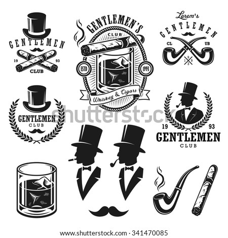 Set of vintage gentleman emblems, labels, badges and designed elements. Monochrome style - stock photo