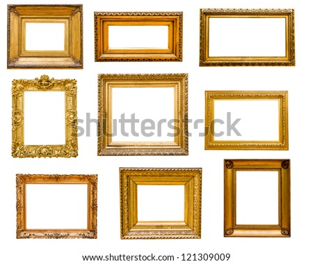 Set of vintage gold frames, isolated on white