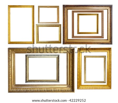 Set of  Vintage gold picture  borders, isolated with clipping path - stock photo