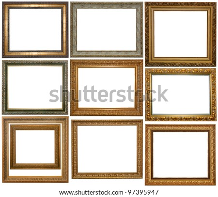 Set Vintage Gold Picture Frame Silver Stock Photo Royalty Free