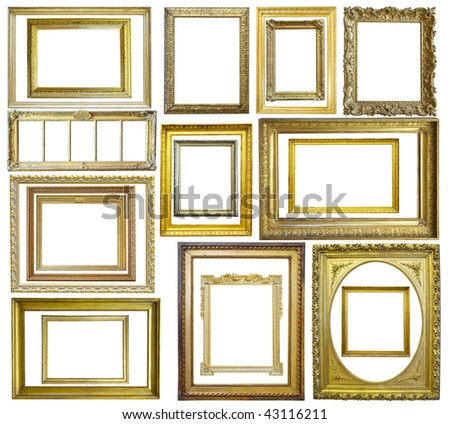 Set of  20 Vintage gold picture frame, isolated with clipping path - stock photo