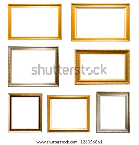 Set of vintage golden and silver picture frame isolated on white background - stock photo