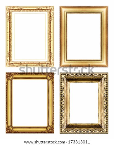 Set of Vintage golden frame with blank space. - stock photo