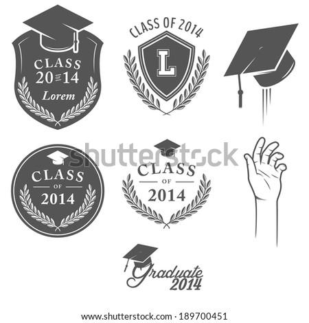 Set of vintage graduation labels, badges and design elements - stock photo