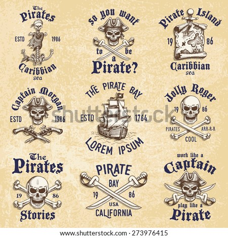 Set of vintage hand drawn pirates designed emblems, labels, logos and designed elements. Isolated with a scratched background. Doodle style. Proverbs. Layered. - stock photo