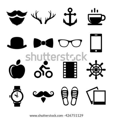 Set of Vintage Hipster Icons and Logos. illustration - stock photo