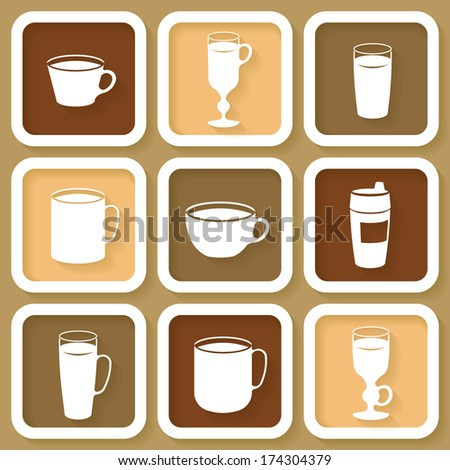 Set of 9 vintage icons of different coffee cups. Raster version - stock photo
