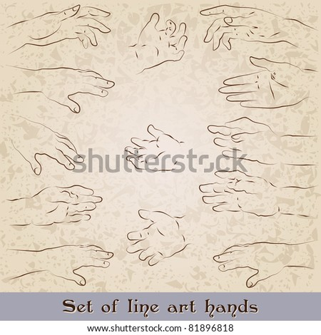 Set of vintage line art, retro style hand illustrations - stock photo