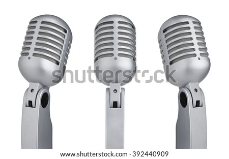 Set of vintage microphones isolated on white background - stock photo