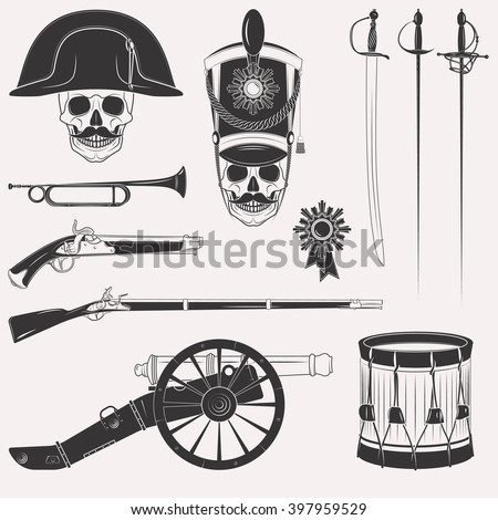 Set of vintage Napoleon Empire French Russian war uniform, equipment, weapons, horn, drum, cannon, sword, rapier, medal, skull in hats isolated on white background - stock photo