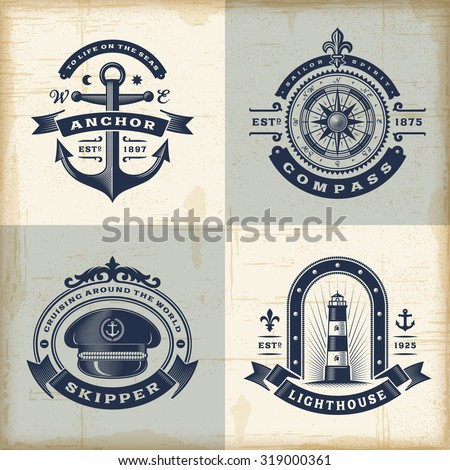 Set of vintage nautical labels - stock photo