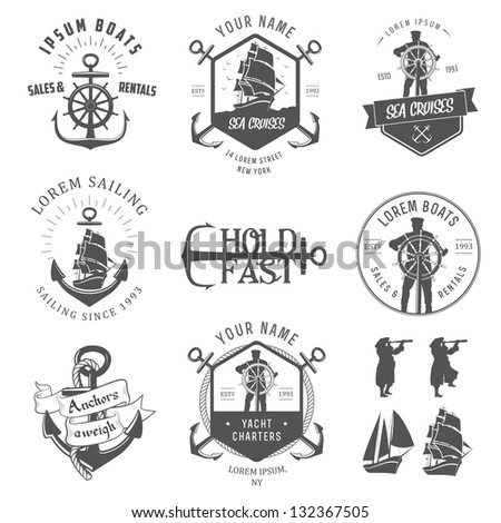Set of vintage nautical labels, icons and design elements - stock photo