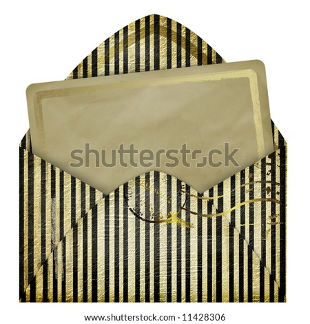 Set of vintage paper and striped envelope - stock photo
