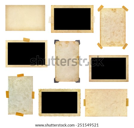 Set of vintage photos on a white background - stock photo