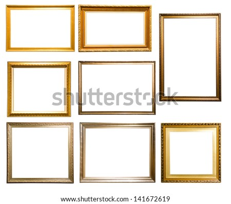 Set of vintage picture frame isolated on white background