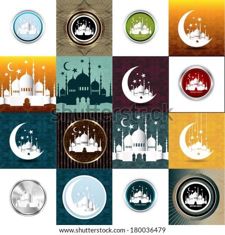 Set of Vintage Ramadan Kareem background  - stock photo