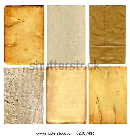 Set Of Vintage Real Papers Isolated On White Background - stock photo