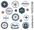 Set of vintage retro aeronautics flight badges and labels - stock photo