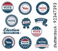 Set of vintage retro 2012 election badges and labels - stock vector