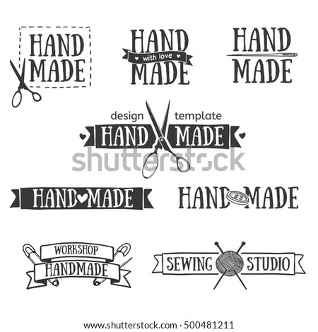 Set of vintage retro handmade badges, labels and logo elements, retro symbols for local sewing shop, knit club, handmade artist or knitwear company. Template logo.