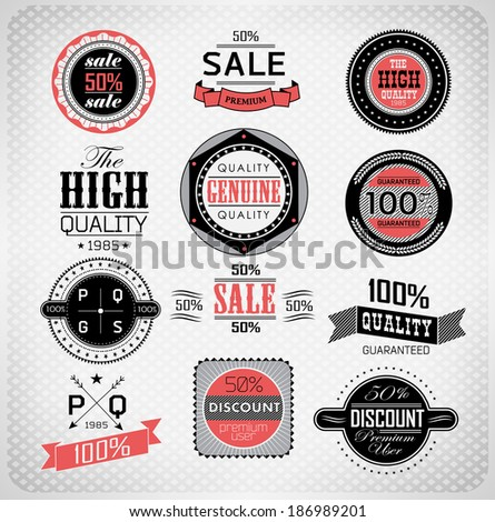 Set of vintage retro labels c���an be used for invitation, congratulation - stock photo